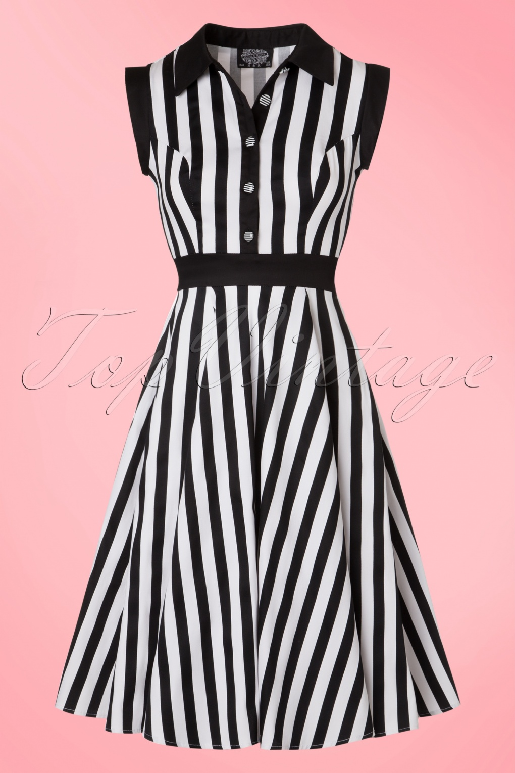 1960s Style Dresses- Retro Inspired Fashion 50s Debra Stripes Swing Dress in Black and White £46.61 AT vintagedancer.com