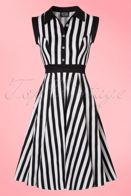 Hearts & Roses Black White Striped Dress 102 14 19967 09132016 015W