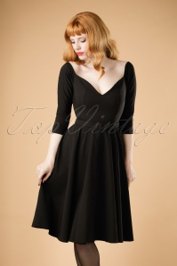 50s Rachel Doll Swing Dress in Black
