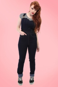 Collectif Clothing Denise Dungarees in Navy 18885 20160601 001