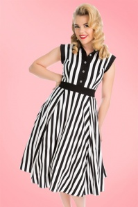 Hearts & Roses Black White Striped Dress 102 14 19967 09132016 2