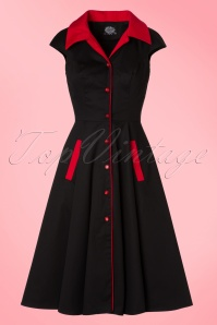 50s Sheila Swing Dress in Black and Red