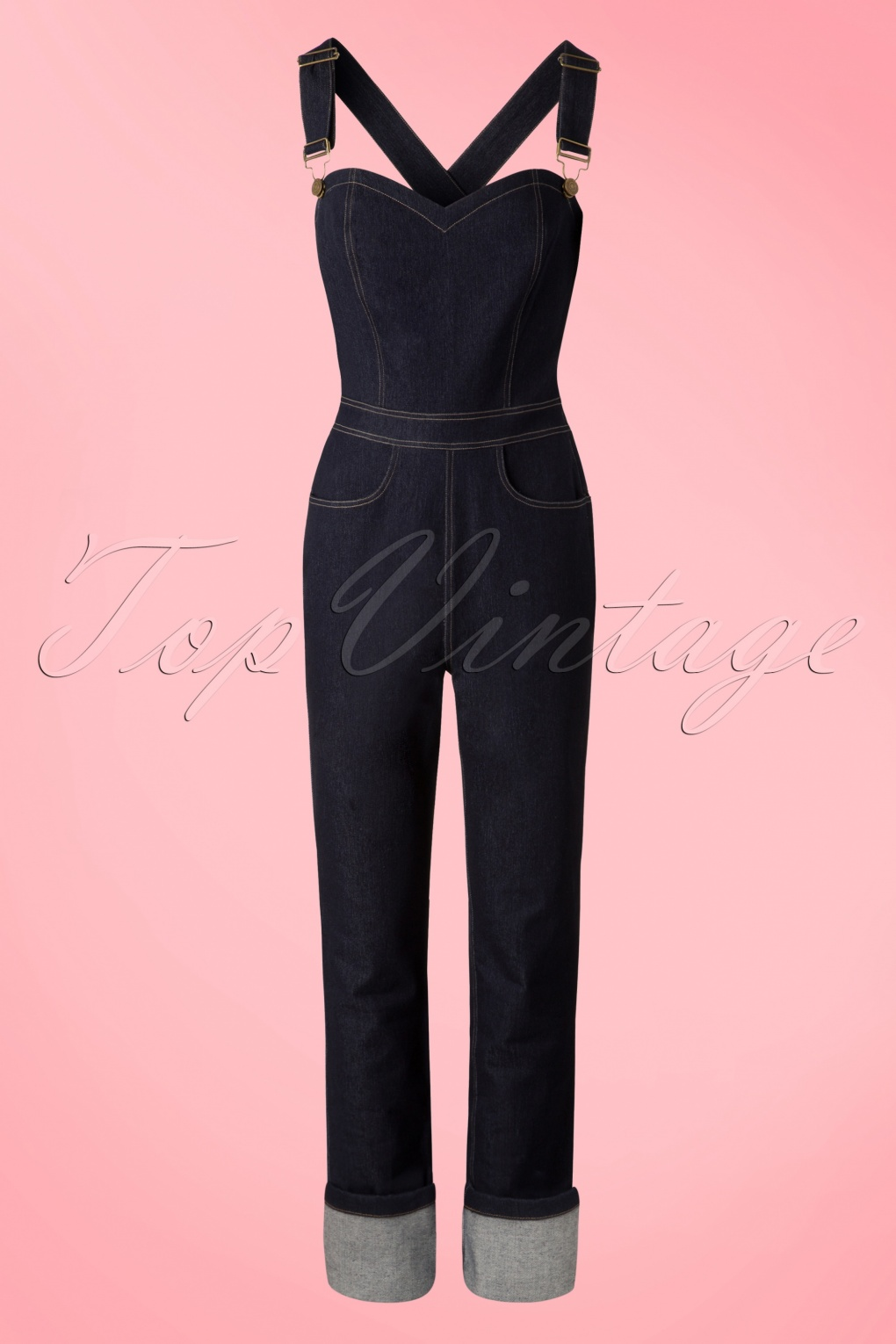 1950s Pants History for Women 50s Denise Dungarees in Denim Blue £58.65 AT vintagedancer.com