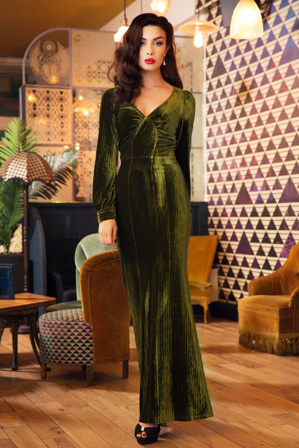Vintage Evening Dresses and Formal Evening Gowns 30s Olivia Velvet Maxi Dress in Olive Green £64.25 AT vintagedancer.com