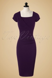 50s Laila Pleated Pencil Dress in Purple