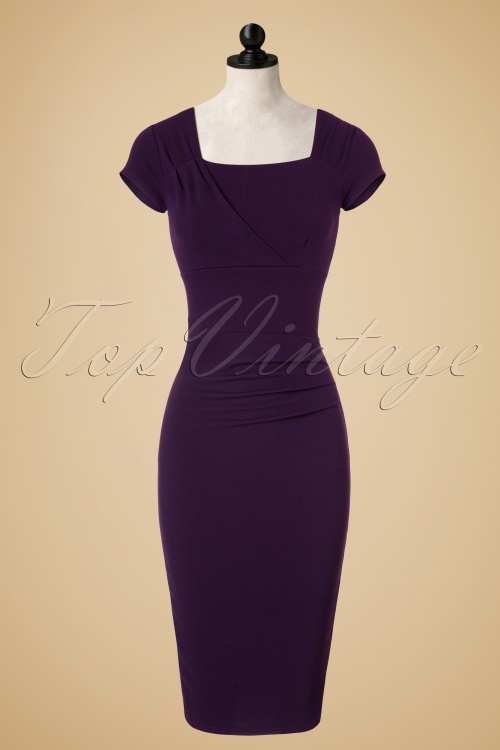 Vintage Chic Barbara Pleat Detail Dress in Aubergine 100 60 19602 20160908 0005pop