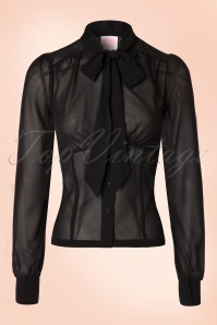 40s Sybil Sheer Secretary Blouse in Black