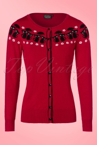 50s Liv Cats Cardigan in Dark Red