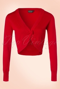 50s Elle Bow Cardigan in Red