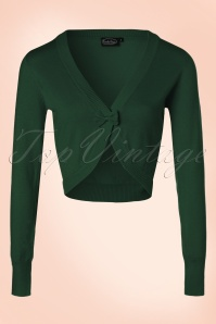 50s Elle Bow Cardigan in Forest Green