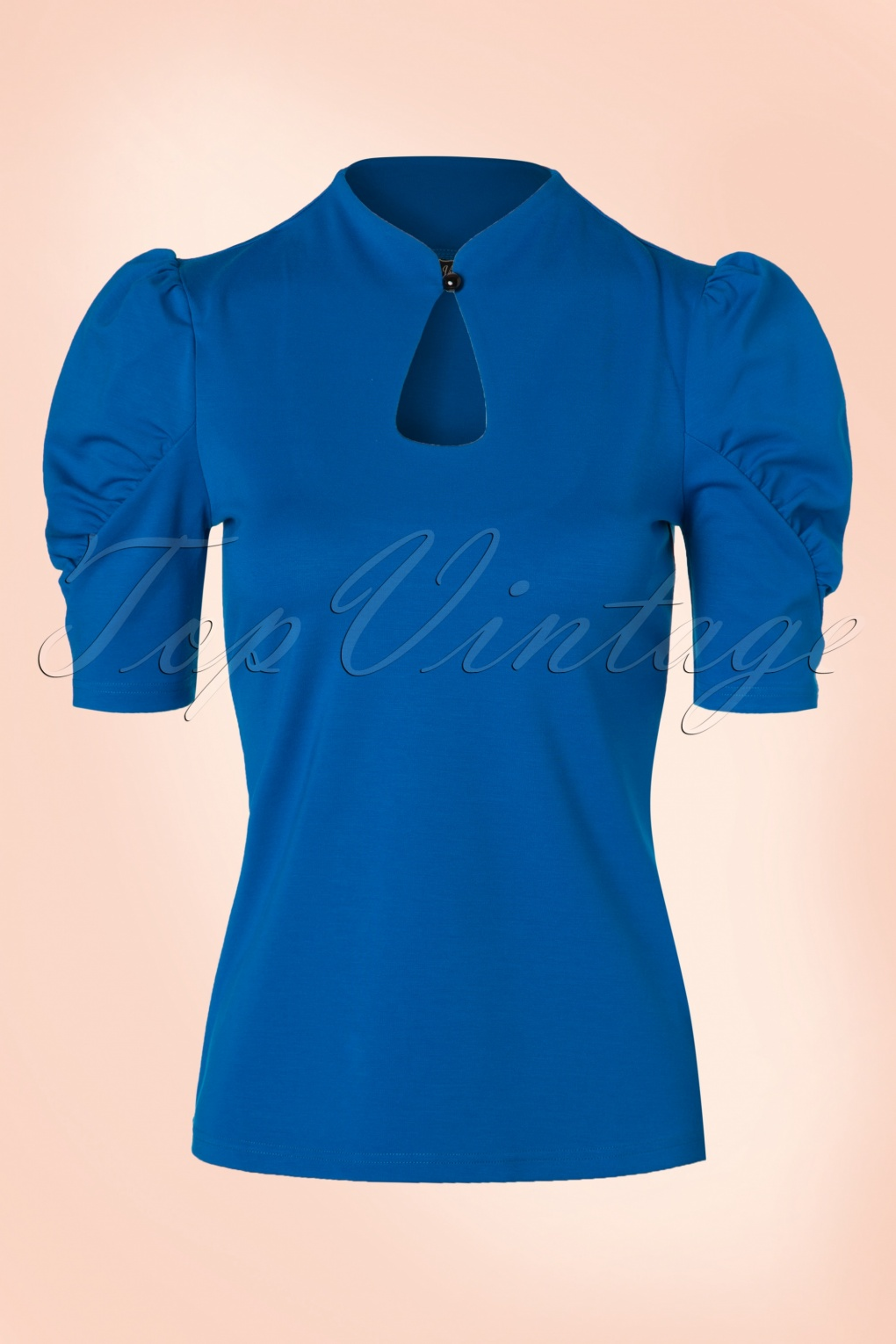 1950s Rockabilly & Pinup Tops, Shirts, Blouses 50s Dita Keyhole Top in Royal Blue £27.03 AT vintagedancer.com