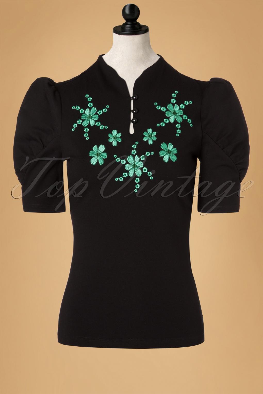 1950s Rockabilly & Pin Up Tops, Blouses, Shirts 50s Estelle Top in Black £27.51 AT vintagedancer.com