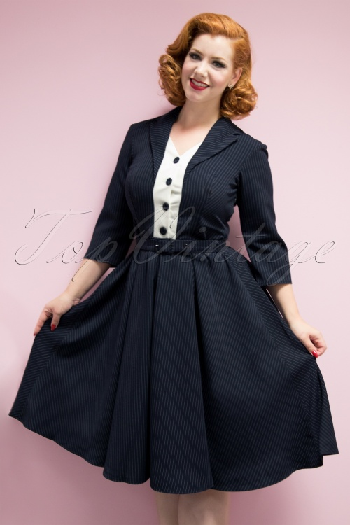 low priced 8069d 34e87 TopVintage Exclusive ~ 50s Tanya Tuxedo Swing Dress in Navy