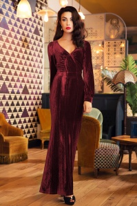 30s Olivia Velvet Maxi Dress in Burgundy