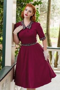 40s Ella Swing Dress in Raspberry and Tartan