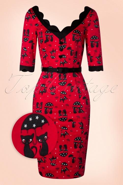 Vixen 50s Jade Cat Pencil Dress in Red 100 27 19406 20160913 0006WV