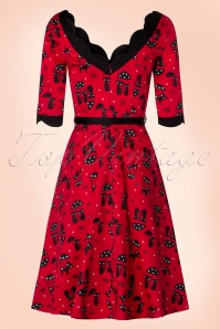 Vixen 50s Jade Cat Swing Dress in Red 102 27 19405 20160913 0007W