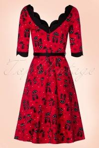 Vixen 50s Jade Cat Swing Dress in Red 102 27 19405 20160913 0007W