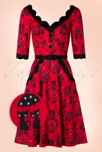 50s Jade Cat Swing Dress in Red