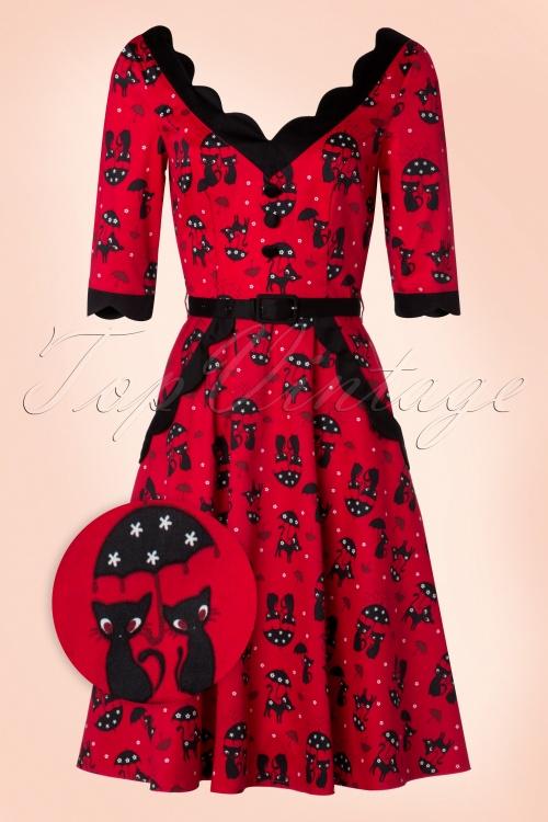 Vixen 50s Jade Cat Swing Dress in Red 102 27 19405 20160913 0006WV