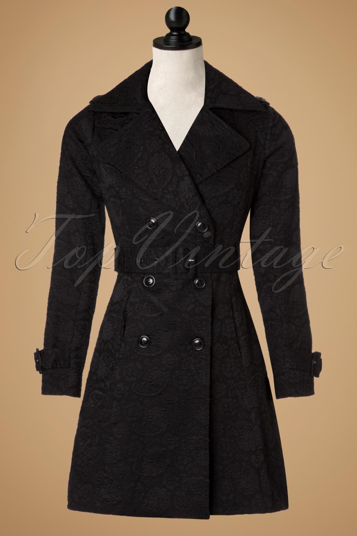 Retro Vintage Style Coats, Jackets, Fur Stoles 50s Susan Jacquard Trenchcoat in Black £72.57 AT vintagedancer.com