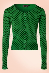 50s Wylie Polkadot Cardigan in Green