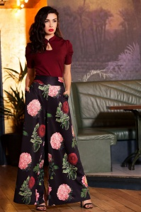 Vixen Natalia Black Floral Pants 131 14 19464 model01