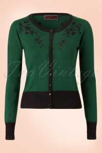 50s Vintage Rose Cardigan in Green and Black