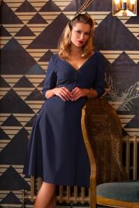 40s Laura Swing Dress in Navy