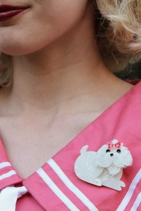 Erstwilder Molly The Maltese Brooch Cream White Model01
