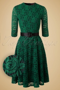 50s Patricia Lace Swing Dress in Green
