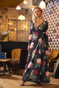 40s Willow Floral Maxi Dress in Black