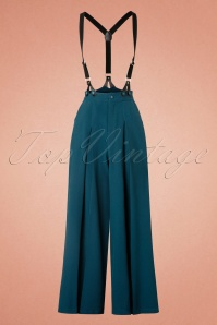 40s Shelley Suspenders Palazzo Trousers in Petrol Blue