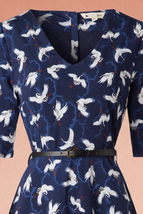 Skater Topvintage Crane Inez Navy ~ In 60s Exclusive Birds Dress Imgbf67yvY