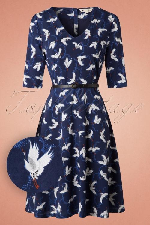 Yumi Crane Printed Navy Blue Dress 102 39 18336 20160120 0073V