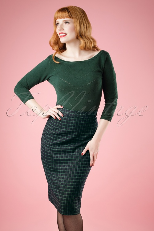 50s Polly Chaise Check Pencil Skirt in Navy and Green