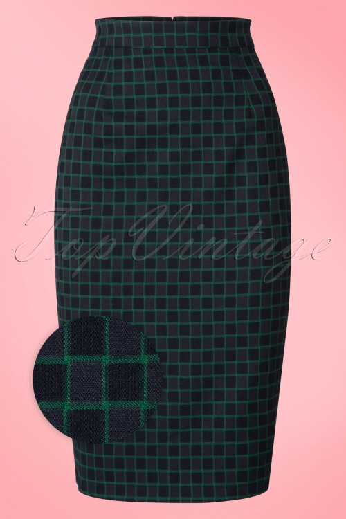 Collectif Clothing Polly Chaise Check Pencil Skirt 18913 20160602 0002WV