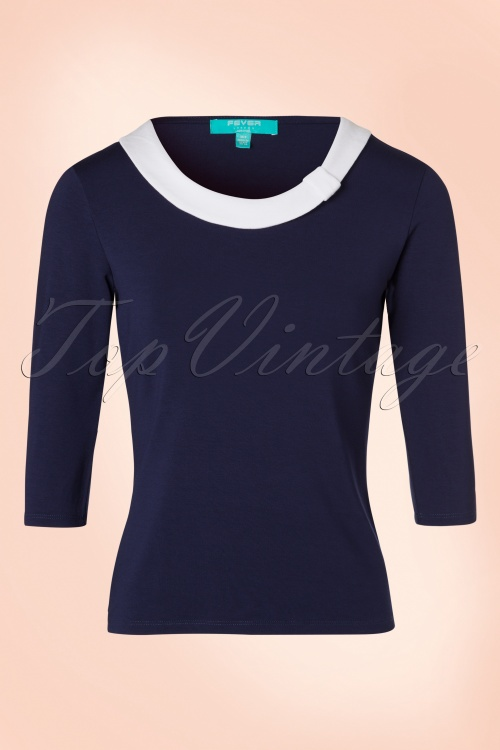 Fever Olivia Top in Blue and White 113 39 19210 20160920 0003W