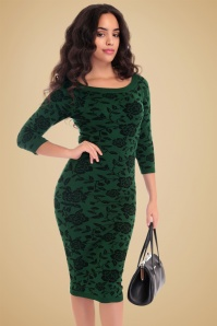 Collectif Clothing Ivana Knitted Dress in Green 18931 20160601 1