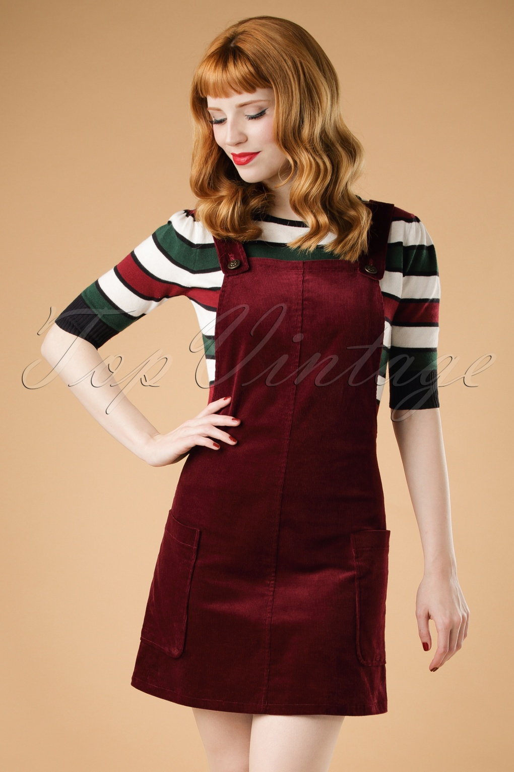 60s lena pinafore dress in burgundy