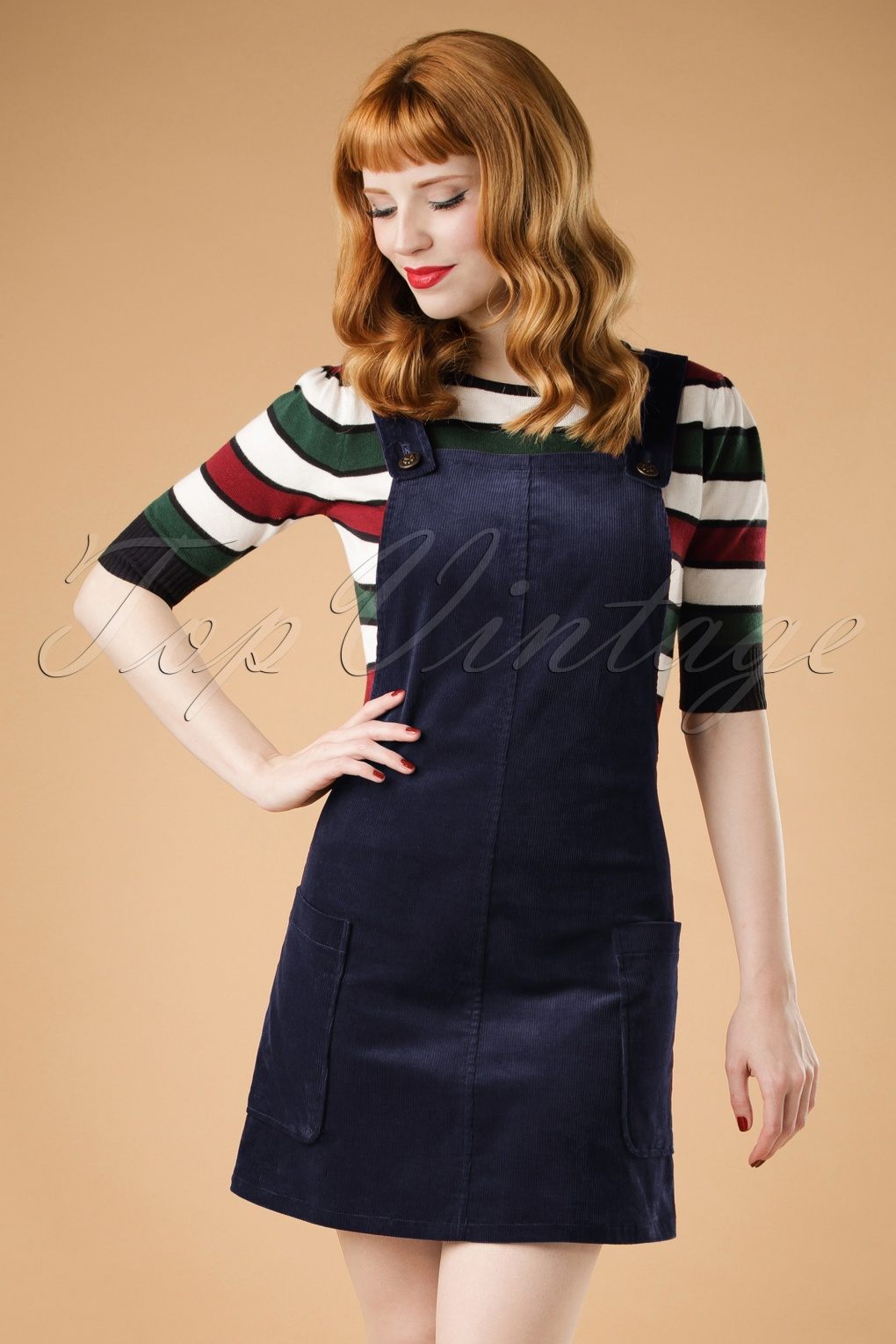 1960s Mad Men Dresses and Clothing Styles 60s Lena Pinafore Dress in Navy £21.23 AT vintagedancer.com