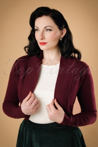 50s Jean Knitted Bolero in Wine