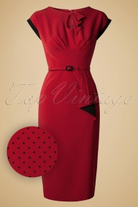 Stop Staring Timeless Pindot Red Pencil Dress Sample 20141105 0006W2