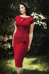 40s Timeless Polkadot Pencil Dress Red