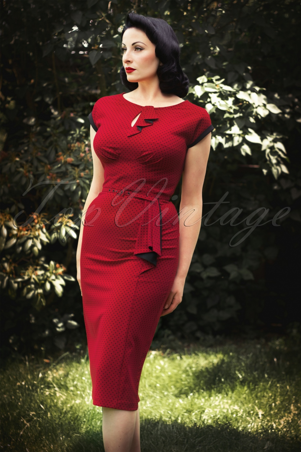 1940s Cocktail, Pin up and Bombshell Dresses Guide 40s Timeless Polkadot Pencil Dress Red £191.07 AT vintagedancer.com