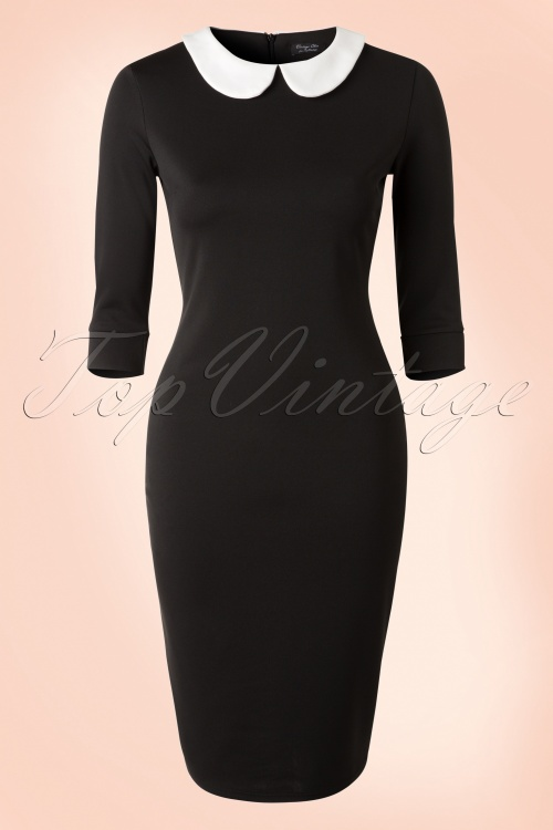 Vintage chic Contrast White Collar Black Pencil Dress 100 10 18360 20160303 0005W