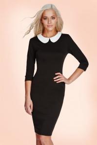 Vintage chic Contrast White Collar Black Pencil Dress 100 10 18360 20160303 0005M2