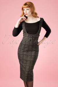 50s Natalia Braces High Waist Pencil Skirt in Grey Check