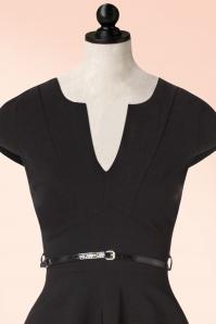 Vintage Chic Cap Sleeve Black Bengaline Dress 102 10 19603 20160913 0010popV