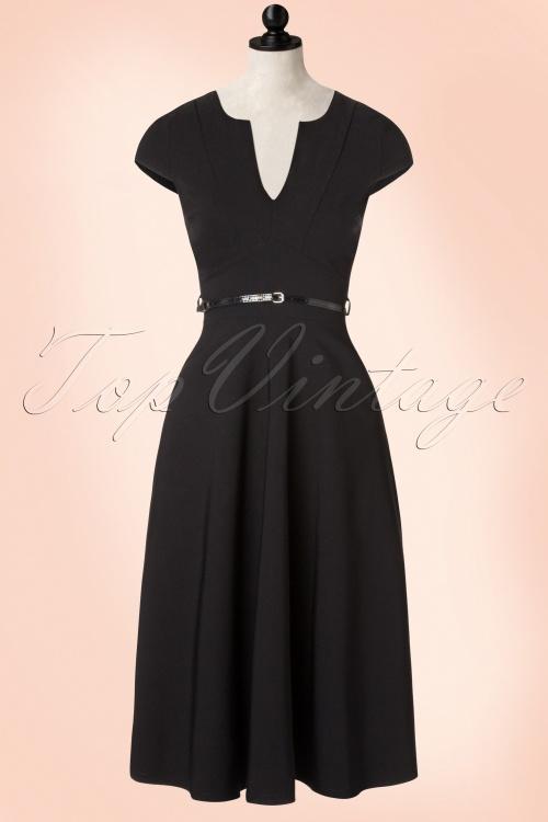 Vintage Chic Cap Sleeve Black Bengaline Dress 102 10 19603 20160913 0010pop